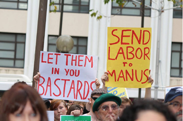 """Sydney, 20 July 2013: Protestors in Sydney join others all around the country in the first defiant response to Kevin Rudd's announcement of his cruel and racist """"PNG Solution."""""""