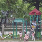 A common sight in North Korea – children having fun at a playground.