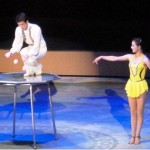 A juggling act during a performance of the popular Pyongyang Circus.