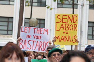 "Sydney, 20 July 2013: Protestors in Sydney join others all around the country in the first defiant response to Kevin Rudd's announcement of his cruel and racist ""PNG Solution."""