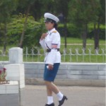 A North Korean policewoman. Police in North Korea do not carry guns or even batons.