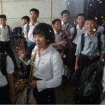 North Korean children during a school excursion.