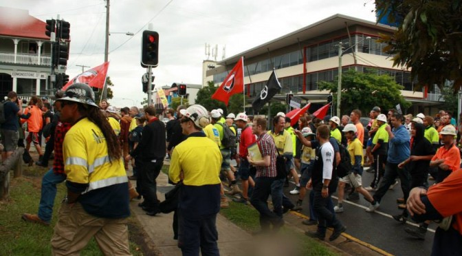 The 2nd of May 2014 Brisbane anti-fascist action brought construction workers from the CFMEU, BLF and ETU unions together with anarchists, Trotskyist Platform, Socialist Alliance and other anti-racists.  This action was important xenophobic propaganda from the bosses' media and fascists often tries to put a divide between workers especially those of different nationalities, religions, and races. In Australia countering divisive racism is the recipe for uniting the workers in the class struggle.