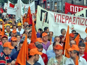 Greece, September 2012: Workers at a mass demonstration. Recent years have seen Greek workers wage several general strikes as they battle grinding capitalist austerity. A genuine Leninist party is needed to lead these struggles towards the working class seizure of state power.