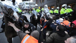 "Melbourne, September 2012: Mounted police in ""democratic"" Australia attack striking CFMEU construction workers outside the Grocon-Myer building site."