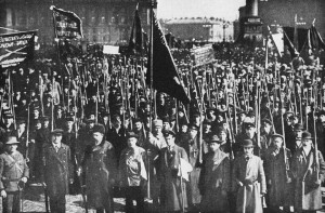Petrograd, Russia: Revolutionary Red Guards massed during the October 1917 socialist revolution.