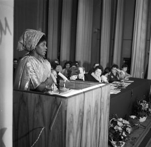 Moscow, March 1972: Celebration of International Women's Day at the former USSR's Patrice Lumumba People's Friendship University which, in particular, served students from Africa, Asia and the Middle East. International students were treated with great respect and warmth in the former USSR. Today, following capitalist couterrevolution, international students in the ex-Soviet republics face abuse and violent attacks.