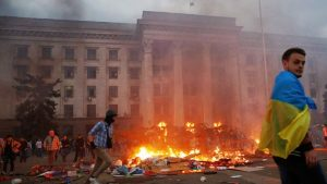 May 2, Odessa: Mass murder! Ukrainian fascists set alight the city's Trade Union Hall where embattledanti-government activists were holed up. Over 40 opponents of the post-February right wing regime were murdered.