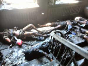 """May 2014: The reality of Ukraine's Western-backed """"democracy."""" Anti-government activists burnt to death in the Odessa Trade Union Hall."""