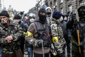Ukrainian fascists have been boosted by the February 2014 right wing coup which they spearheaded. Many of these fascist outfits sport the Wolfsangel (Wolf's Hook) - a favoured symbol of modern Neo- Nazi groups.