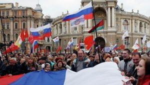 Odessa, April 2014: Mass protest against the post- February 2014 coup regime.