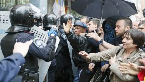 Odessa, 4 May 2014: Heavily armed Ukrainian police unleashed against anti-government protesters.