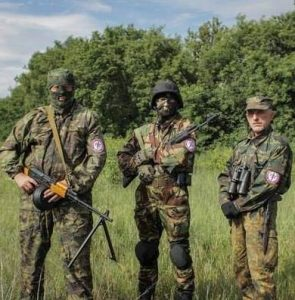 Members of the Russian fascist group, Russian National Unity, fighting as volunteers in support of the Donbass rebels. The presence of fascists in the rebel movement is an obstacle to winning the support of the ethnic Ukrainian working class and serves to drive the Ukrainian masses into the arms of reactionary nationalists.