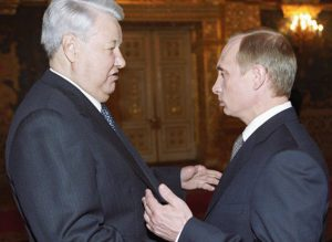 Putin with anti-communist, former Russian president Boris Yeltsin. For nearly three years before becoming president himself, Putin served as a high-ranking official in the Yeltsin regime.