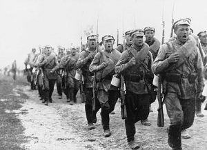March 1920. Troops from the counter-revolutionary Russian White Army march forward.