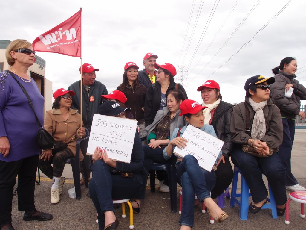 November 2011, Workers at the Baida poultry plant in Laverton, Victoria on the picket line during a two-week long strike for job security and against bullying bosses.