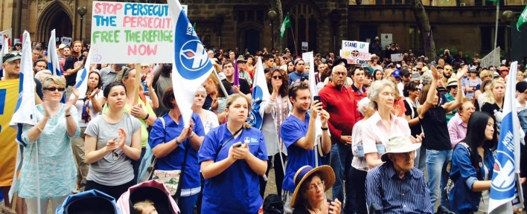 Sydney: A contingent from the Nurses and Midwives Association were an enthusiastic part of the 11 October 2015 refugee rights rally in Sydney. The most conscious sections of the workers movement understand that opposing racism is a core task for the trade unions. Racism is a poison to workers unity and without workers unity the entire struggle for workers rights is doomed to failure.