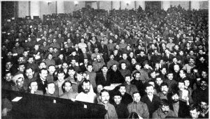 Meeting in Petrograd of the Third All Russia Congress of the Soviets in January 1918 – two and a half months after the Russian Revolution. The Soviet Congress was the highest body of the workers state. It consisted of delegates of workers – and also peasants and soldiers – elected by local grassroots soviets in which the active masses exercised direct political power. The early years after the Russian Revolution saw the workers state administered through this system based on proletarian democracy. Although the system of soviet democracy was strangled by the subsequent bureaucratic degeneration of the USSR, the USSR remained a workers state until it was destroyed by capitalist counterrevolution in 1991-92.