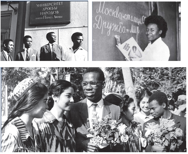 Established in 1960 in Soviet times, tens of thousands of international students from Africa, the Middle East, Asia and Latin America studied on scholarship at the USSR's University of the Friendship of Peoples. Although local students also studied there, the USSR established the university specifically for the purpose of providing an education to people from the ex-colonial countries. In February 1961, the university was re-named after the Congolese anti-colonial leader, as Patrice Lumumba University of the Friendship of Peoples. This re-naming of the university after Lumumba was a gesture of solidarity with the people of the world standing up to colonialism and neo-colonialism. It came only one month after Lumumba was assassinated by Belgian authorities in a plot orchestrated by the U.S. CIA and with the complicity of the UN. Top Left: First graduates at the university. Top Right: A Russian language lesson in progress. Above: Students from different countries and local students intermingle at the university.