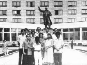 Days of the Socialistic USSR: International and local students at Novosibirsk State Technical University pose for a photo in front of a statue of Russian Revolution leader, Vladimir Lenin.