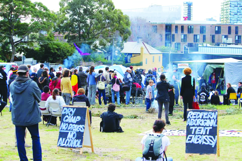15 June 2014: Hundreds gather to defend the Redfern Aboriginal Tent Embassy (RATE). RATE attracted broad support from supporters of Aboriginal rights and campaigners for affordable housing.