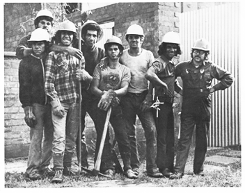 1970s: Aboriginal and non-Aboriginal BLF union members working on the construction of affordable housing for Aboriginal people on The Block.
