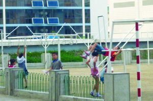 North Korean children having fun at a playground near a housing complex. Photo: Trotskyist Platform