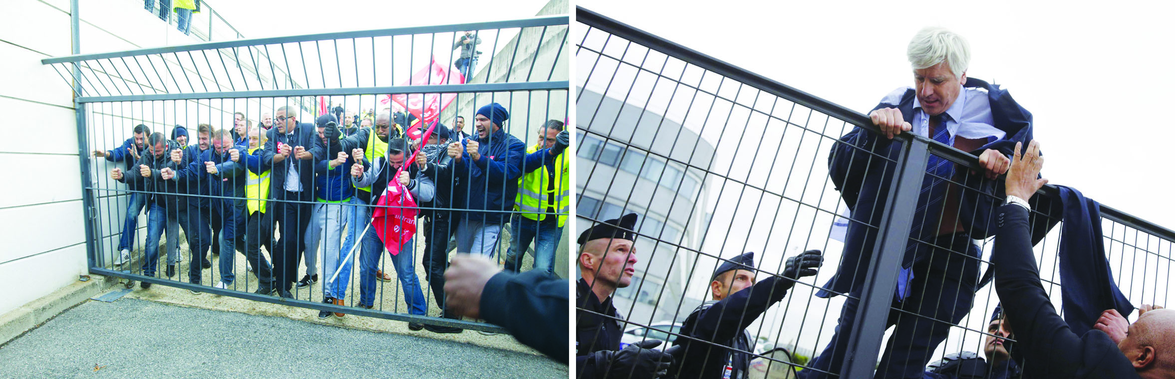 "Today, capitalist rulers from France to Australia are cynically seizing on the terrorist attacks to whip up patriotic fervour and a supposed ""common identity"" as people who embrace ""liberal democratic values."" This serves to mask the fact that the capitalist ruling class exploit their ""own"" working class. Above Left, 5 October 2015: Air France workers storm through the gates of the company's headquarters after the capitalist bosses announced the retrenchment of 2,900 workers. Angry workers ripped the shirts off a couple of high-ranking executives and were about to dispense a healthy dose of workers' justice to these greedy corporate thugs when the terrified bosses were rescued by security guards and climbed over a fence to escape (Above Right). Today's post-attacks patriotism is meant to not only dampen such class struggle but the yet more added powers that the capitalist authorities are giving themselves in the name of fighting terrorism will in the end be used against the workers' movement, leftists and anti-imperialists."