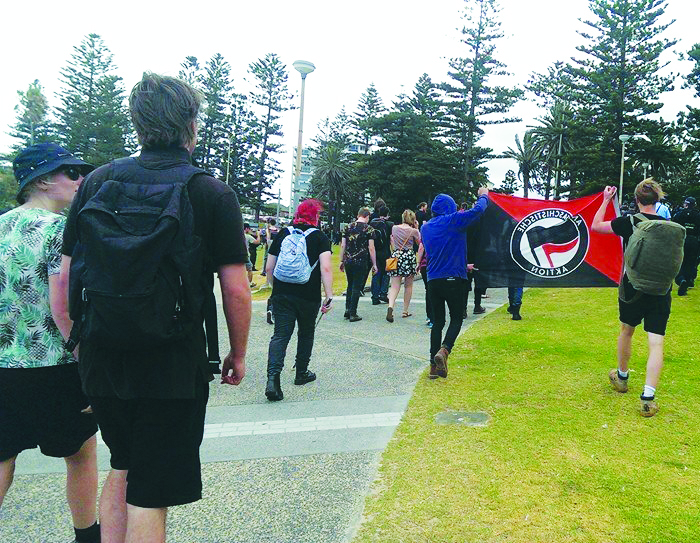 12 December 2015: Anti-fascists on the march at an anti-racist action on Cronulla on the tenth anniversary of the white supremacist riot there.