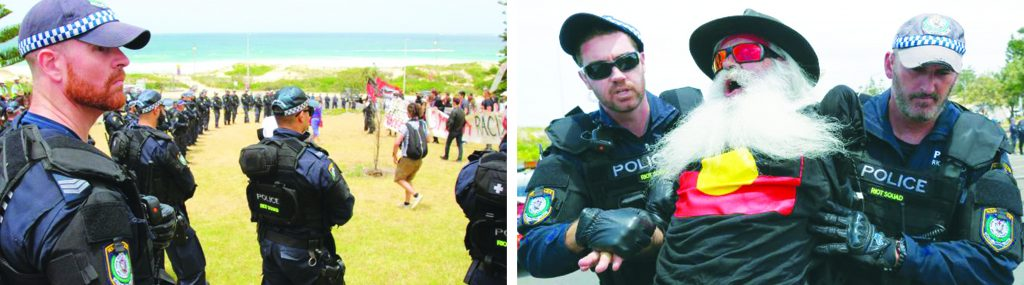 On the day of the December 2005 Cronulla riot the police forces present were strikingly minimal even though the police's own intelligence made clear to them that a large, explosive rate hate mobilisation would occur. Yet when anti-racists mobilised ten years later, the police were unleashed in massive numbers to corral the anti-racist demonstrators (Left) and to protect the violent racists who had gathered to celebrate the December 2005 riot. The police even in a very cowardly manner arrested a one-armed Aboriginal man in his late 50s (Right) – one of two anti-racists that they arrested on the day.