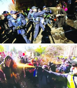 Melbourne, 18 July 2015: Police viciously attack anti-racism protesters demonstrating against a rally by the far-right Reclaim Australia/United Patriots Front groups. Police did everything to facilitate the rally by the racist violence-inciting fascist groups.
