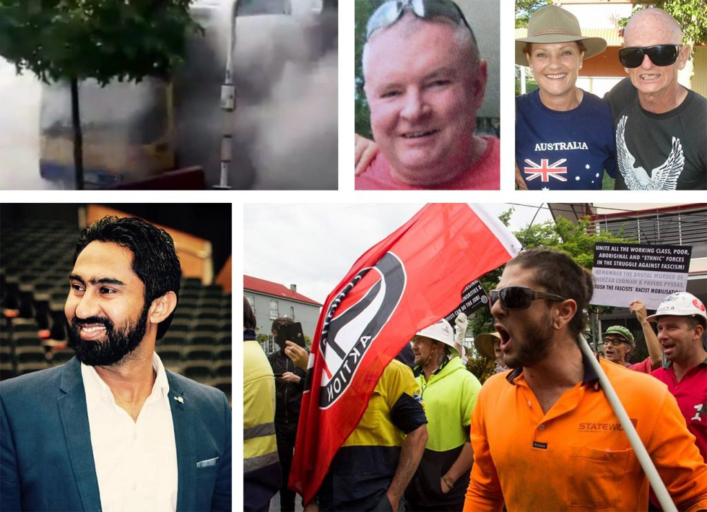 "On October 28, Indian-born Brisbane bus driver Manmeet Alisher (Left) was murdered by Anthony O'Donohue (Above). The killer boarded the bus and heinously set the driver alight in what was manifestly a racist attack. The attack by the white terrorist also caused the bus to burn down, threatening the lives of many passengers when the bus was stopped in the multiracial suburb of Morooka. O'Donohue was known to hold fascistic views - including anti-union conspiracy theories. The election of hard right wing racist, Donald Trump, to the U.S. presidency and the ensuing emboldening of far right Australian politicians like Pauline Hanson (Far Right - posing for a photo with notorious Sydney Nazi, Ross ""Skull"" May) will incite further white supremacist terror. Mass moblisations of trade unionists and all the intended victims of the fascists must drive violent racist filth off the streets – such as happened in Brisbane on 2 May 2014 (Below). On that day a large contingent of unionised construction workers joined tother with anarchists, Trotskyist Platform supporters and other leftists and anti-racists to shut down an attempted march by the fascist Australia First Party."